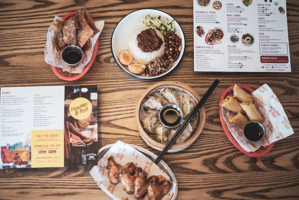 Flatlay of restaurant food and menu
